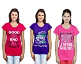 Indistar Womens Printed Cotton T-Shirt (Pack of -3)