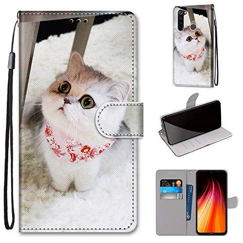 Miagon Flip PU Leder Schutzhülle für Xiaomi Redmi Note 8,Bunt Muster Hülle Brieftasche Case Cover Ständer mit Kartenfächer Trageschlaufe,Schal Katze
