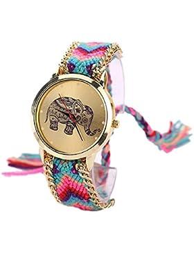 Sannysis Elephant Pattern Gewebte Seil Band-Armband-Quarz Zifferblatt Light Blue + Pink