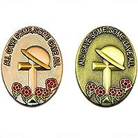 SET DI 2 Tutti Ha dato Alcune Croce & Papavero Risvolto Spille Personalizzate in Rame Antico e Oro VENDITORE UK - Data Busta