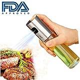 Ölsprüher Dispenser Premium 304 Edelstahl Grillen Olivenöl Glasflasche 100ml zum Kochen / Salat / Brotbacken / BBQ / Küche (1-PACK)