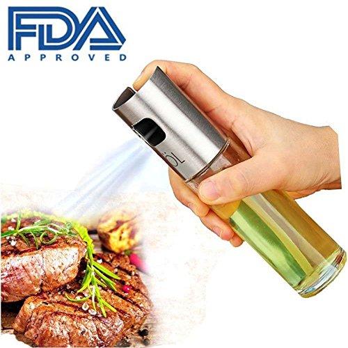 HZQ Dispensador de pulverizador de aceite Premium 304 Acero inoxidable para asar a la parrilla Botella de vidrio de aceite de oliva 100 ml para cocinar/Ensalada/Hornear pan/BBQ/Cocina (1-PACK)