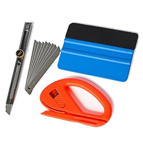 Ehdis® Auto Glass Film de protection Outils Installation: 4 «Felt bord voiture Raclette, snitty Safety Cutter vinyle, Verrouillage Utility Knife Auto avec 10 lames prêt à acheter