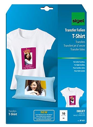 SIGEL IP651 Transferencia inyección de tinta para camisetas, tamaño A4 (21 x...