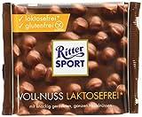 RITTER SPORT Voll-Nuss laktosefrei (100 g), Laktosefreie Vollmilchschokolade, mit knackigen Haselnüssen, glutenfrei und laktosefrei