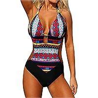 AEROBIC Women Sexy Bohemia Bikini Swimwear Bra Push up Padded Printed Swimsuit Red Medium