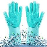 ROTTAY Guanti di Silicone, Dishwashing Gloves, Magico Guanti per Lavapiatti con Lavaggio Scrubber Spazzola per la Pulizia Riutilizzabile Resistente al Calore per Lavare i Piatti(Blu)