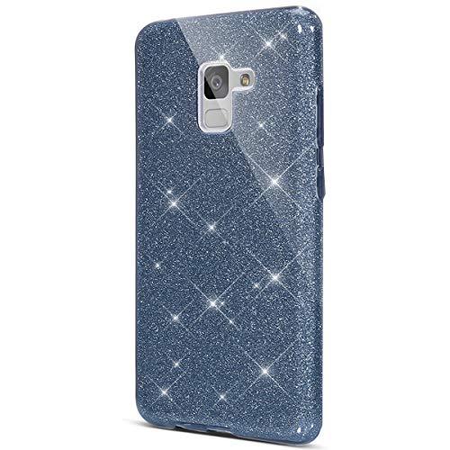 Surakey Funda para Samsung Galaxy A8 2018,Crystal Glitter Protección TPU Flexible Y Ligero Purpurina Brillante Carcasa Resistente de Gel Silicona con Brillo para Samsung Galaxy A8 2018,Rosa Ptp01304P