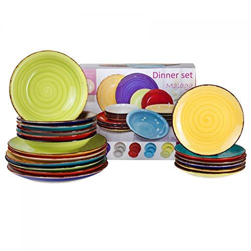 MamboCat Tellerset Malaga 18-TLG. für 6 Personen | Buntes handbemaltes Dinner-Set | Porzellan Tafelservice mit 6X Dessertteller + 6X Speiseteller + 6X Suppenteller -