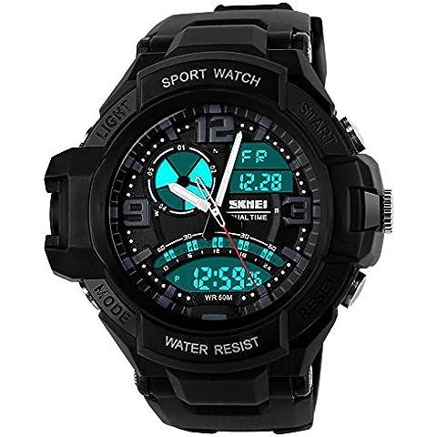 GL Uomo orologio digitale Sport Watch gomma cinturino doppio movimento notte vista LCD Light, Nero