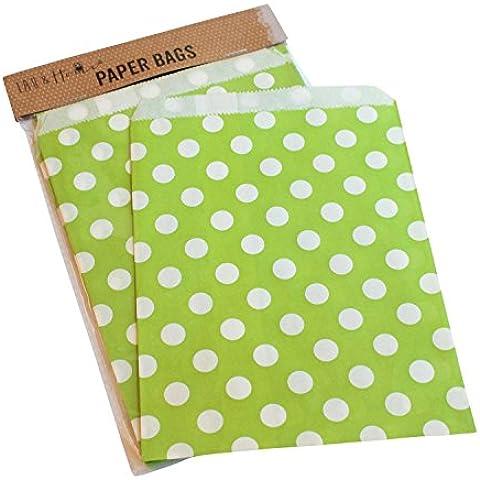 Confezione da 25 punti party sacchetto di carta / caramelle dolci regalo, 13x18cm - Green