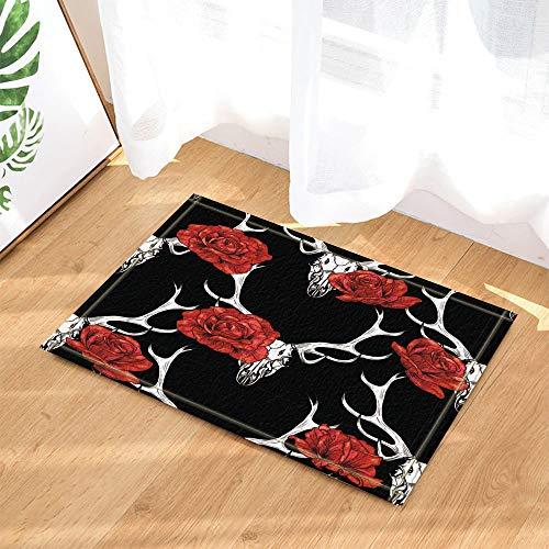 Rotwild-geweih-bad Möbel (HTSJYJYT Elch-Rotwild dekorsiert rote Rose auf Geweih in schwarzen Badteppichen Rutschfeste Fußmatte Bodeneingänge Indoor Haustürmatte Kinder Badmatte 60X40CM Bad-Accessoires)