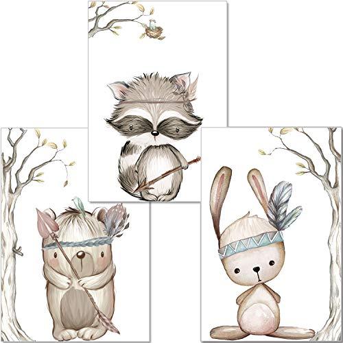 artpin® 3er Set Poster Kinderzimmer - A4 Bilder Babyzimmer - Deko Junge Mädchen (P23)