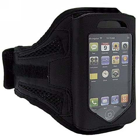 Black Mesh IPhone 4 4S 4G iPod Touch 4 Strong ArmBand Case Cover For Sports Activities, Gym Work, Bike Riding, Cycling, Jogging, Running & Other Exercise - Comes with Free Screen & Back Protector