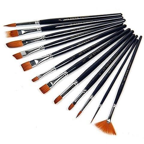 Ularmo 12pcs Nylon cheveux Pinceau Set Artiste Aquarelle Acrylique Peinture à l'huile Fournitures