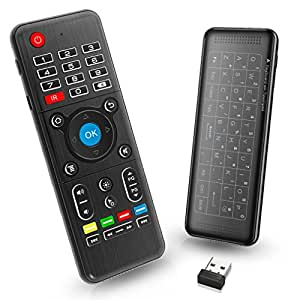 PC Telecomando per TV Box con Mini Tastiera Touchpad Air Mouse Asse Somatosensoriale a Raggi Infrarossi, 2,4G Ricevitore USB per PC, Laptop, HTPC, Andorid TV Box, XBox, Kodi, Presentazioni di Slide