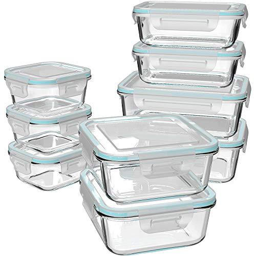 GENICOOK Glas-Frischhaltedose Set 9er, Mikrowellengeschirr Glas, glasvorratsdosen mit Deckel,lebensmittelaufbewahrung Glas, Meal prep Boxen Glas, brotzeitbox Glas, BPA-frei-Borosilikatglas