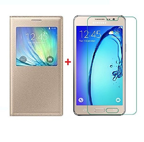 Sun Tiger (COMBO OFFER) Premium windows Leather Flip Case Cover For Samsung Galaxy On7 Pro Flip Cover - Gold Glolden. + free Premium Tempered Glass Mobile Screen Protector