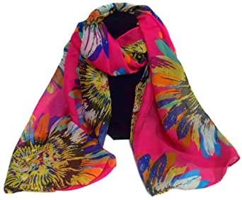 LARGE CHIFFON FLOWER FLORAL SCARF LADIES WOMEN PRESENT GIFT SCARVES NECK SCARF (HOT PINK)