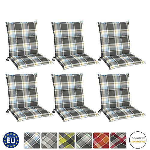 Beautissu 6er Set Sunny BK Niedriglehner Auflagen Set für Gartenstühle 100x50 cm in Blau Kariert - Bequeme Gartenstuhl Stuhlkissen Polsterauflagen UV-Lichtecht