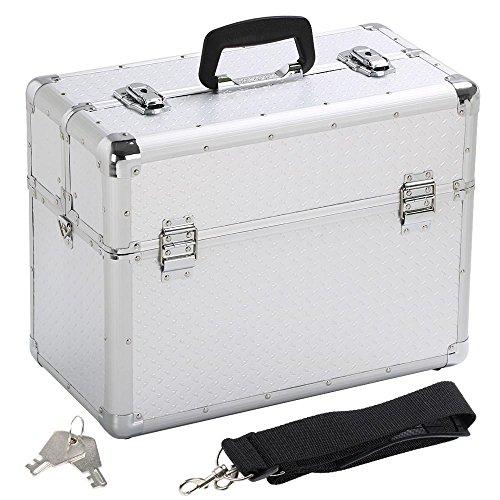 Yaheetech Werkzeugkoffer leer, Alu Koffer, Transportkoffer Werkzeugaufbewahrung Werkzeugkästen Multikoffer, 43,5 x 22,5 x 34 cm