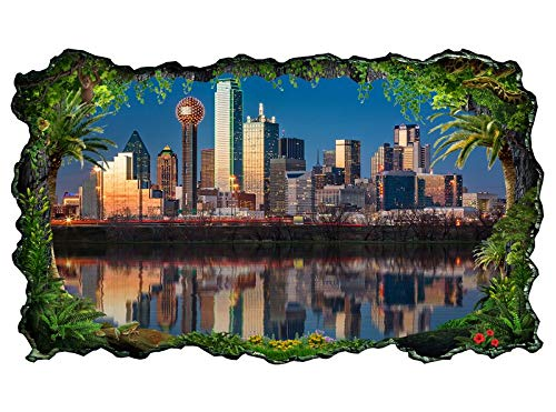 3D Wandtattoo Dallas Skyline USA Stadt Trinity River Tapete Wand Aufkleber Wanddurchbruch sticker selbstklebend Wandbild Wandsticker Wohnzimmer 11P664, Wandbild Größe F:ca. 140cmx82cm