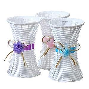 Plastico Rattan Macetas de tela composiciones florales Home Table Decoration Centro de mesa de boda Incirespado Boca…