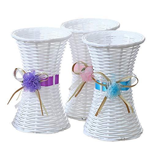 Plastica rattan vasi di tessitura composizioni floreali home table decoration centrotavola di nozze increspato bocca vaso di fiori artificiali 1 pezzo colore casuale