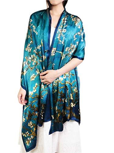 Prettystern - 100% seta stola blu xxl pittura oversize van gogh stampe d'arte - fioritura rami di mandorlo p309