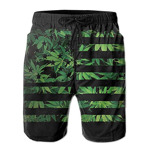 Weed USA Flag Men's Summer Beach Quick-Dry Surf Swim Trunks Boardshorts Cargo Pants X-Large -