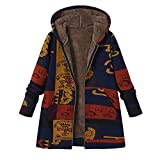 OverDose Damen Winterjacke Windbreaker Wärmemantel Plus Size Damen Kapuzen Causal Slim Soft Langarm Vintage Damen Fleece Dick Coats Zipper Coat(Blau,EU-46/CN-XL)
