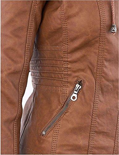 Damen Herbst PU KunstLederjacke mit Reißverschluss Übergangsjacke Motorradjacke Kurz Kapuzenmäntel Bikerjacke Lederjacke Kapuzenjacke Oversize Jacke Hoodie Coat Outerwear - 5