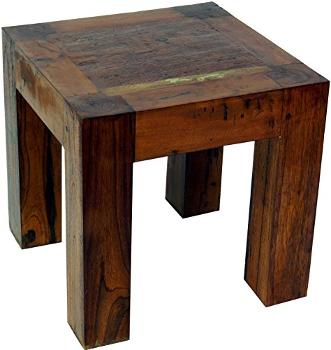 Guru-Shop Hocker, Beistelltisch aus Recyceltem Teakholz Groß, Antik-braun, 40x40x40 cm, Sitzmöbel -