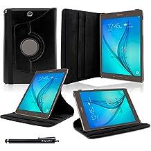 Samsung Galaxy Tab A 9.7 Funda, SAVFY® Giratoria 360 grados Stand PU Funda Flip Set ( con Auto Reposo / Activación Función ) + Paño de Limpieza + Protector de la Pantalla + Lápiz Optico para Samsung Galaxy Tab A 9.7 Pulgadas T550 - Negro