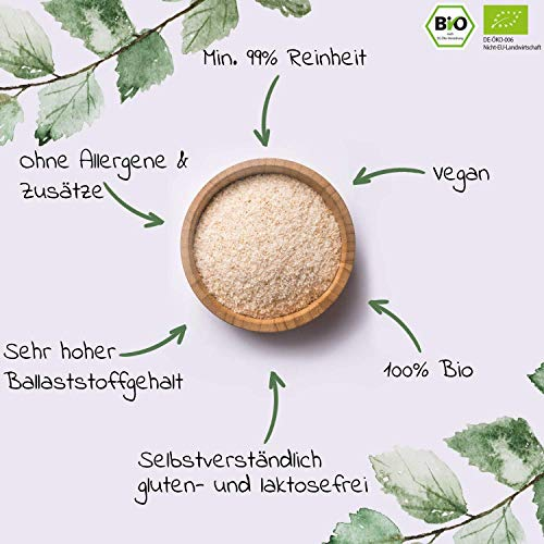 Bio Flohsamenschalen – Premium Qualität: Laborgeprüft, 99+% Reinheit, zertifiziert Bio. Vegan. Low-Carb. Ballaststoffreich. Glutenfrei. Ohne Zusätze. Nachhaltig angebaut – 500g