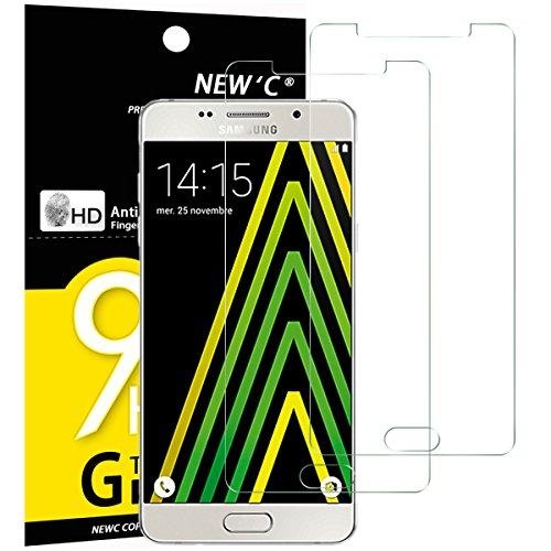 NEW'C PanzerglasFolie Schutzfolie für Samsung Galaxy A5 2016, [2 Stück] Frei von Kratzern Fingabdrücken & Öl, 9H Härte, HD Bildschirmschutzfolie, BildschirmschutzfolieSamsung A5 2016