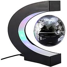 KOBWA Créatif Globe Terrestre Lumineux Flottant Magnétique Levitation Globe Lamp avec Lumières LED et Base en Forme C pour Décorations Maison et le Bureau Globe Flottant avec des Lumières LED