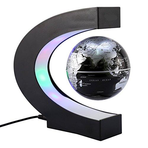 Kobwa créatif globe terrestre lumineux flottant magnétique levitation globe lamp avec lumières led et base en forme c pour décorations maison et le bureau