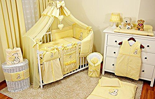 Literie de bébé ensemble set complet 6 pièces linge parure de lit 100% coton avec broderie motif...