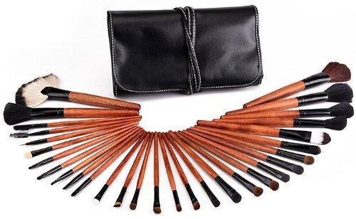 Davidsonne Professionnel Fond de Teint Poudre Blush cosmétiques Maquillage Brush Set étui en cuir noir (Lot de 30)