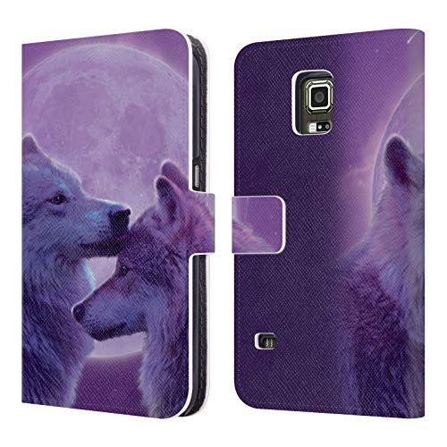 Head Case Designs Offizielle Vincent HIE Woelfe Lieben Canidae Leder Brieftaschen Huelle kompatibel mit Samsung Galaxy S5 Active (Phone Cases Galaxy S5 Active)