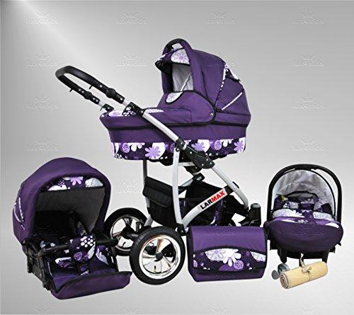True Love Larmax Kinderwagen Komplettset (Autositz & Adapter, Regenschutz, Moskitonetz, Schwenkräder) 56 Purple & Flowers