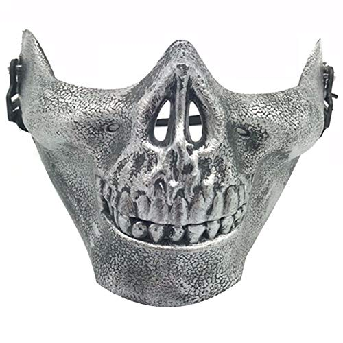 AGF+YUOP Halloween Weihnachten Schutzmaske_Half Face Kinn Kinn Maske Feldschutz Hacke, Silber Halbe Gesichtsmaske (Kinn Hexe Halloween)