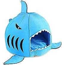 GBlife Nueva Cama Suave de Perros en Forma de Tiburón Casa de Mascotas con Cojín Extraíble(S, Azul)