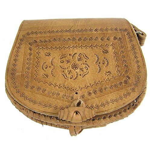 Custodia in pelle borsa a tracolla borsa a tracolla con stampa motivo a semicerchio (natur GEO)