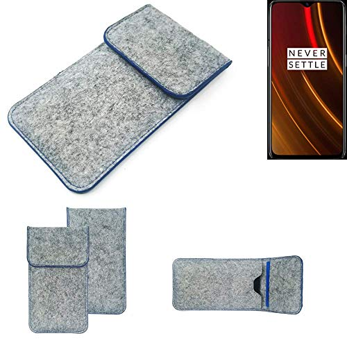 K-S-Trade® Filz Schutz Hülle Für -OnePlus 6T McLaren Edition- Schutzhülle Filztasche Pouch Tasche Case Sleeve Handyhülle Filzhülle Hellgrau, Blauer Rand