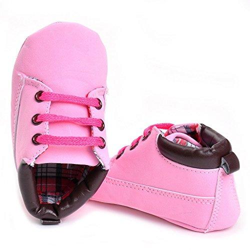 Oderola Pour 0-18 mois Bébé,Baby Soft Sole Crib Bootie,Chaussures premiers pas pour bébé, Chaussons mixte bébé Rose