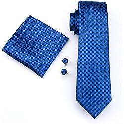 Juego de corbata para hombre de seda con pañuelo y gemelos, para boda, de Hi-Tie, Blue Plaid, Talla única