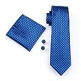 Hi-Tie Herren Plaid Paisley massiv Seide Krawatte Taschentuch Manschettenknöpfe Hochzeit Krawatte Set, Blau kariert, onesize