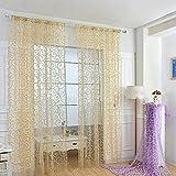 Gosear Patrón de círculo Cortinas Para Decoración de ventanas Poliester 100 x 200 cm Blanco
